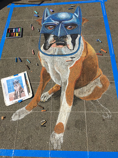"""Luke the Boxer as Batman"", by Sheryl Lazenby, chalk artist."