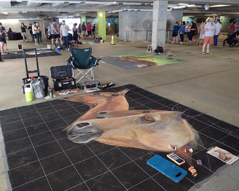 Sheryl Lazenby at the inaugural chalk festival for the Crystal Bridges Museum of Art.